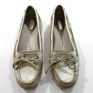 Sperry Top Sider Angelfish Boat Shoes Gold Leather